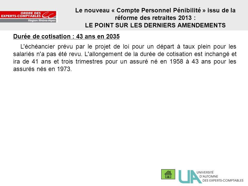 20 Le nouveau « Compte Personnel Pénibilité » issu de la réforme des retraites 2013 : LE POINT SUR LES DERNIERS AMENDEMENTS Durée de cotisation : 43 a