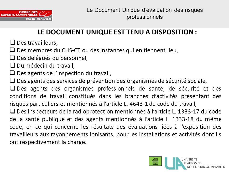 30 Le Document Unique dévaluation des risques professionnels LE DOCUMENT UNIQUE EST TENU A DISPOSITION : Des travailleurs, Des membres du CHS-CT ou de
