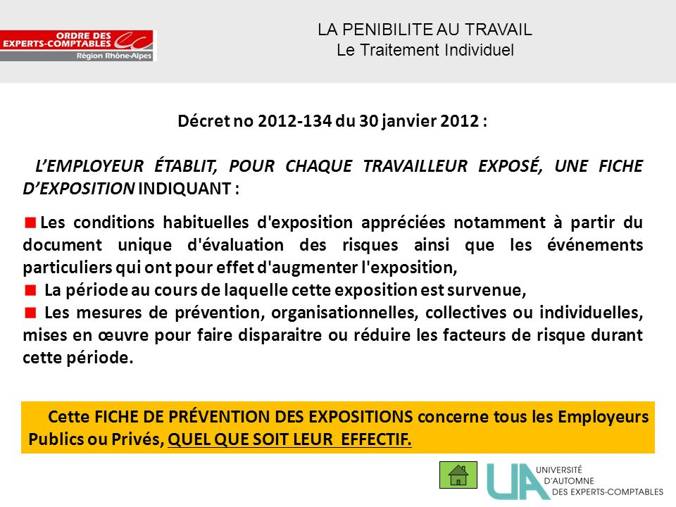 38 Décret no 2012-134 du 30 janvier 2012 : LEMPLOYEUR ÉTABLIT, POUR CHAQUE TRAVAILLEUR EXPOSÉ, UNE FICHE DEXPOSITION INDIQUANT : Les conditions habitu