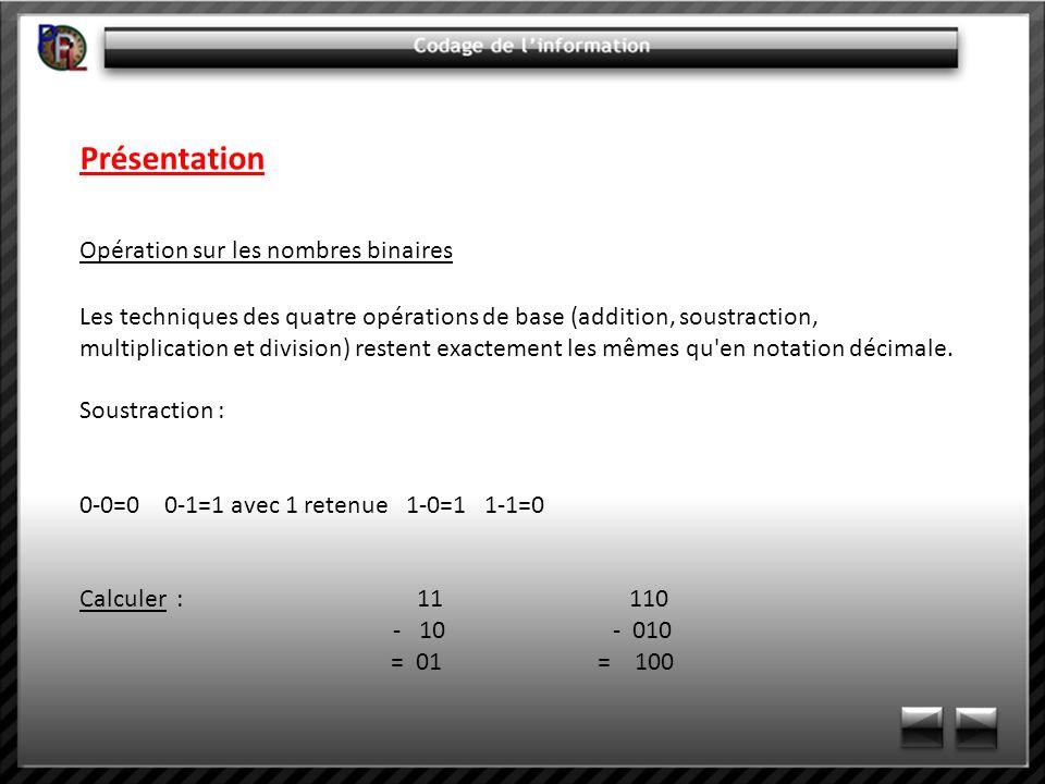 Présentation Opération sur les nombres binaires Multiplication : La multiplication se fait en formant un produit partiel pour chaque digit du multiplicateur (seuls les bits non nuls donneront un résultat non nul).