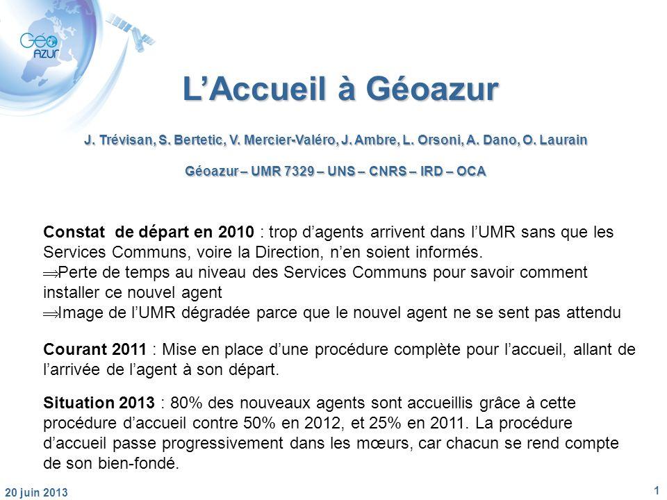 1 20 juin 2013 LAccueil à Géoazur J. Trévisan, S.