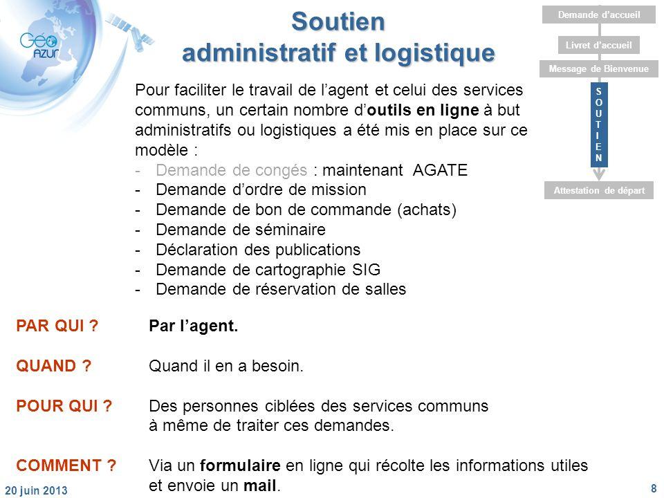 8 20 juin 2013 Livret daccueil Message de Bienvenue Attestation de départ Demande daccueil SOUTIENSOUTIEN Soutien administratif et logistique PAR QUI Par lagent.