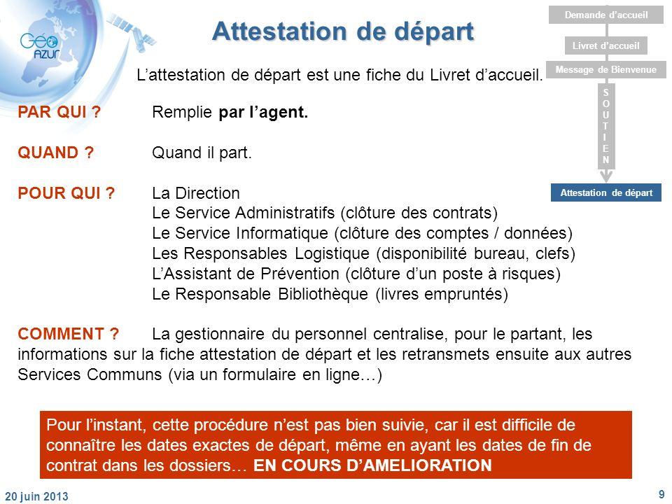 9 20 juin 2013 Livret daccueil Message de Bienvenue Attestation de départ Demande daccueil SOUTIENSOUTIEN Attestation de départ PAR QUI Remplie par lagent.