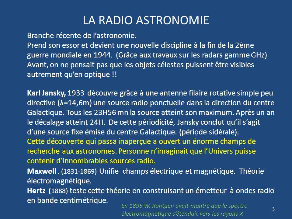 33 RADIO TELESCOPES a ANTENNE UNIQUE TELESCOPE MERIDIEN Grand Radio télescope de Nançais Miroir sphérique 300 x 35 m Miroir plan 200 x 40 m Antenne collectrice au foyer: 3 Cornets sur chariot mobile F=1420 MHz = 21 cm Raie H F=1665 MHz = 18 cm Raie OH F=3330MHz = 9 cm Raie CH Lobe N/S =22 arc Temps observation : 1H/j Objets: Comètes; MIS, Galaxie, extra galaxies…) Crédit photos: Didier Pierson