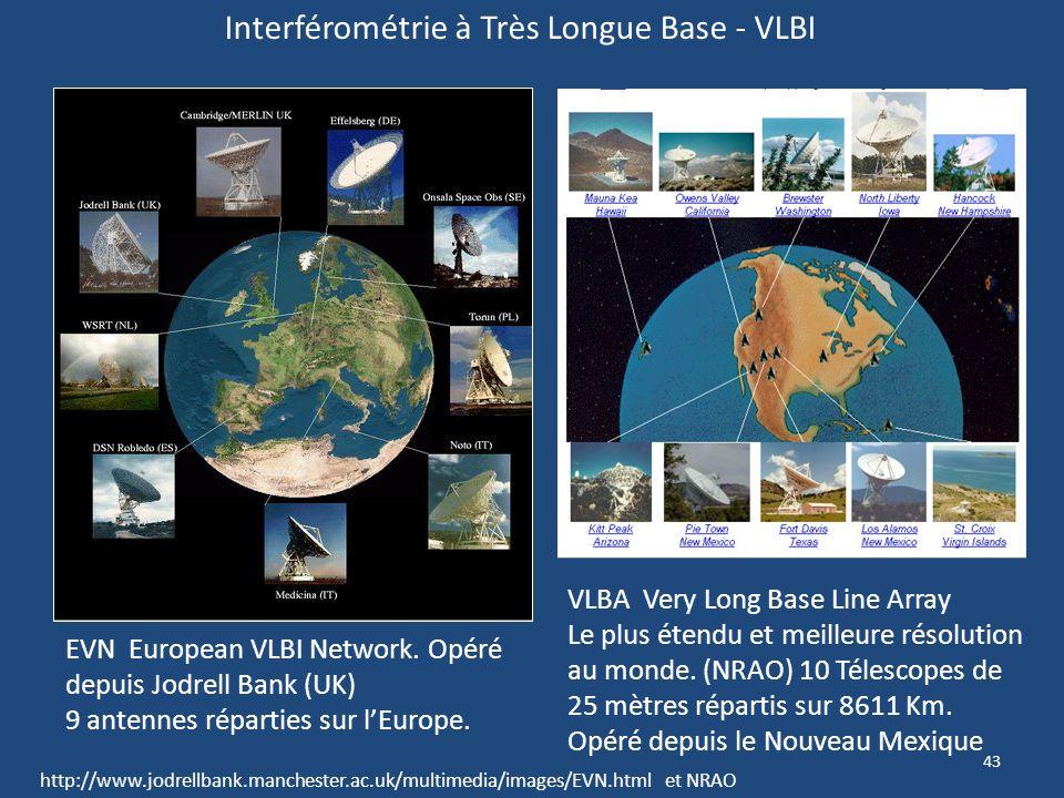 42 Les 27 antennes parabolique de 25m chacune du VLA donnent un pouvoir de résolution équivalent à une antenne de 36 Km (0,05 darc) et une sensibilité
