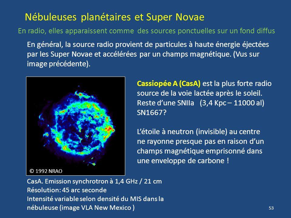 52 Image radio étendue du centre Galactique (VLA) à λ=90 cm (330 MHz) Anneaux restes de SN SgrA Au centre de la Galaxie : SAGITTARIUS A (SgrA) La déte