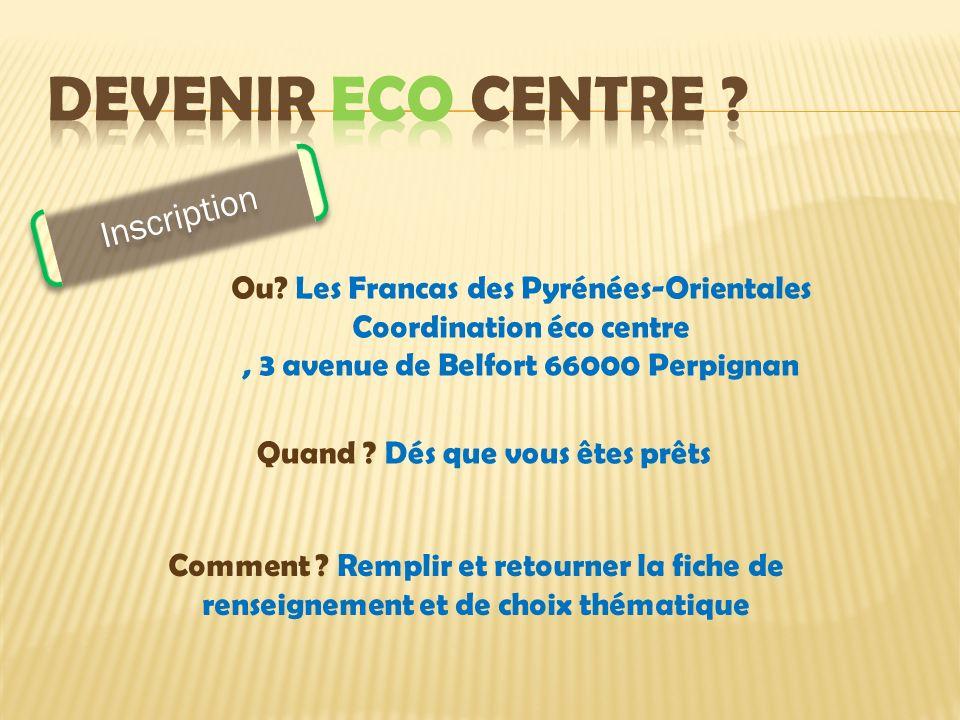 Ou? Les Francas des Pyrénées-Orientales Coordination éco centre, 3 avenue de Belfort 66000 Perpignan Quand ? Dés que vous êtes prêts Inscription Comme