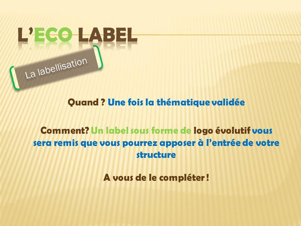 La labellisation Quand . Une fois la thématique validée Comment.