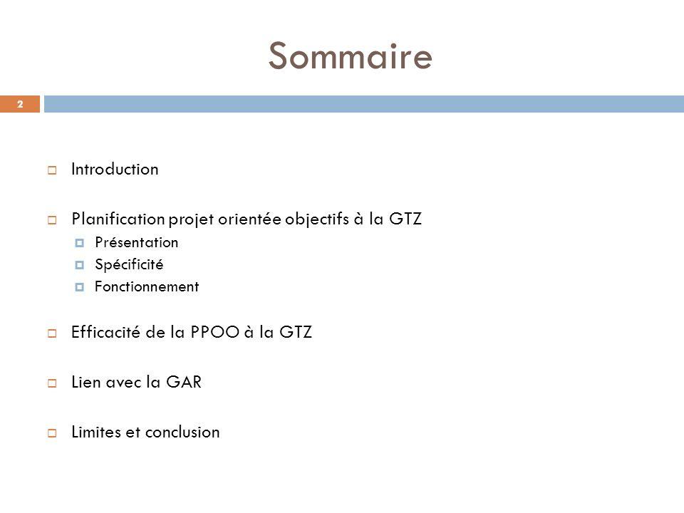 Sommaire Introduction Planification projet orientée objectifs à la GTZ Présentation Spécificité Fonctionnement Efficacité de la PPOO à la GTZ Lien ave