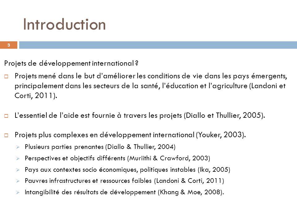 Introduction Projets de développement international ? Projets mené dans le but daméliorer les conditions de vie dans les pays émergents, principalemen