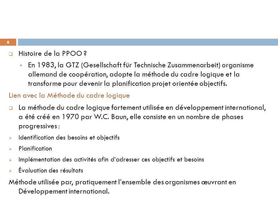 Histoire de la PPOO ? En 1983, la GTZ (Gesellschaft für Technische Zusammenarbeit) organisme allemand de coopération, adopte la méthode du cadre logiq