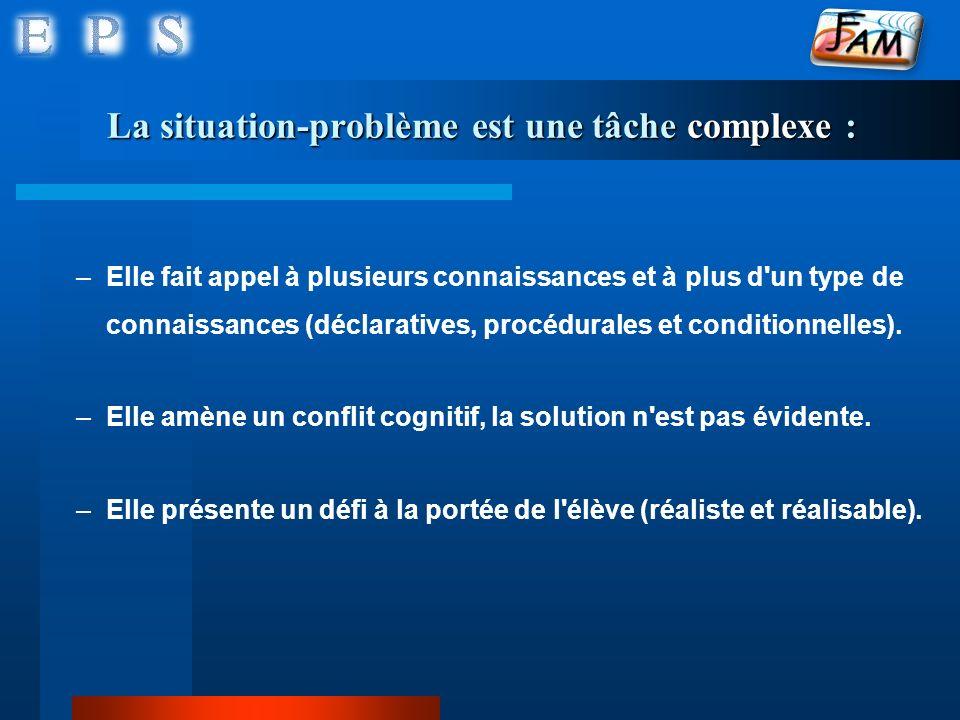 La situation-problème est une tâche complexe : –Elle fait appel à plusieurs connaissances et à plus d'un type de connaissances (déclaratives, procédur