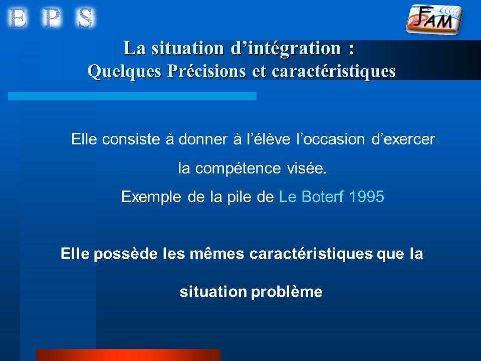 La situation dintégration : Quelques Précisions et caractéristiques Elle possède les mêmes caractéristiques que la situation problème Elle consiste à