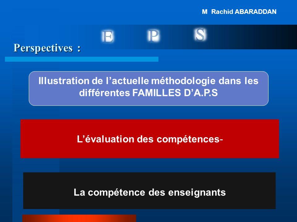 Perspectives : La compétence des enseignants -Lévaluation des compétences Illustration de lactuelle méthodologie dans les différentes FAMILLES DA.P.S