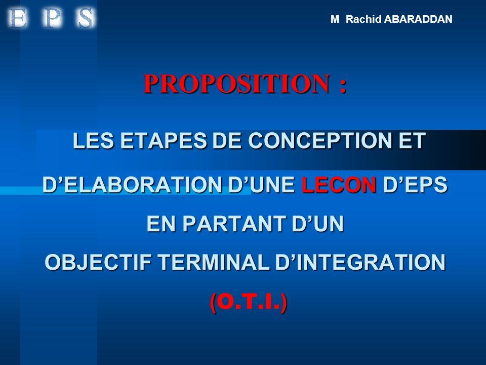PROPOSITION : LES ETAPES DE CONCEPTION ET DELABORATION DUNE LECON DEPS EN PARTANT DUN OBJECTIF TERMINAL DINTEGRATION () PROPOSITION : LES ETAPES DE CO