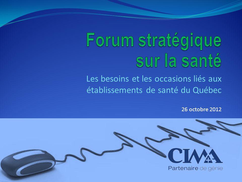 Les besoins et les occasions liés aux établissements de santé du Québec 26 octobre 2012