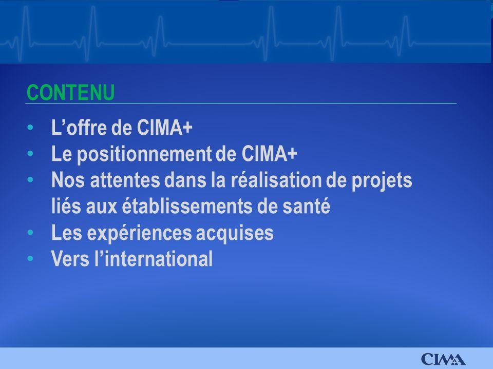 Loffre de CIMA+ Le positionnement de CIMA+ Nos attentes dans la réalisation de projets liés aux établissements de santé Les expériences acquises Vers linternational CONTENU