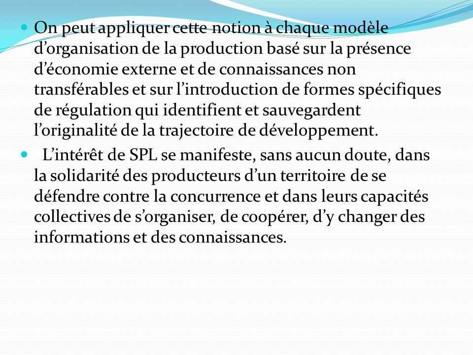 On peut appliquer cette notion à chaque modèle dorganisation de la production basé sur la présence déconomie externe et de connaissances non transférables et sur lintroduction de formes spécifiques de régulation qui identifient et sauvegardent loriginalité de la trajectoire de développement.