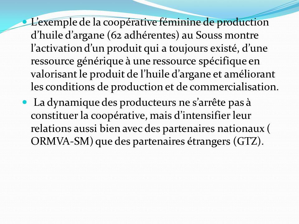 Lexemple de la coopérative féminine de production dhuile dargane (62 adhérentes) au Souss montre lactivation dun produit qui a toujours existé, dune r