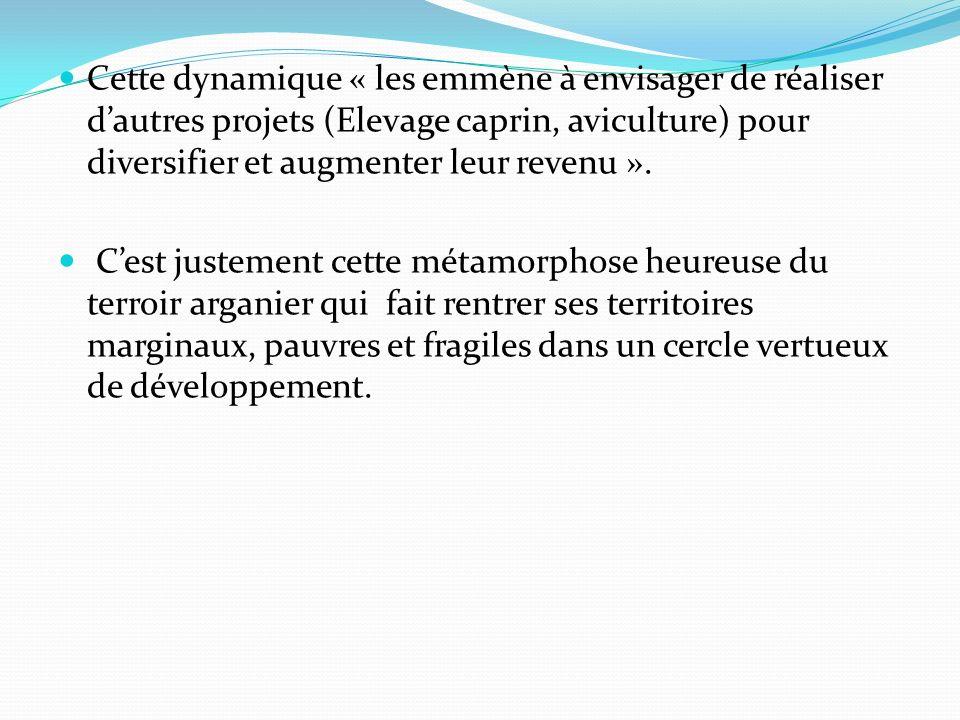 Cette dynamique « les emmène à envisager de réaliser dautres projets (Elevage caprin, aviculture) pour diversifier et augmenter leur revenu ». Cest ju