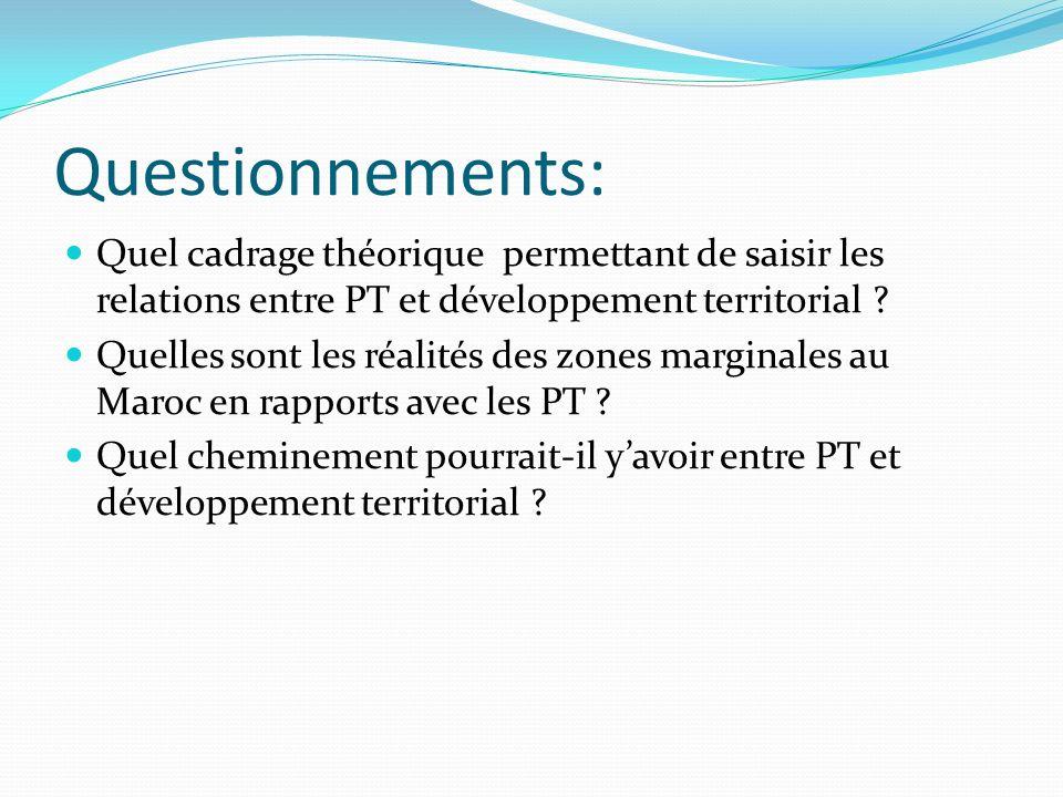 Questionnements: Quel cadrage théorique permettant de saisir les relations entre PT et développement territorial ? Quelles sont les réalités des zones