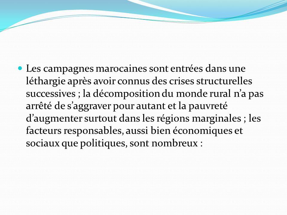 Les campagnes marocaines sont entrées dans une léthargie après avoir connus des crises structurelles successives ; la décomposition du monde rural na pas arrêté de saggraver pour autant et la pauvreté daugmenter surtout dans les régions marginales ; les facteurs responsables, aussi bien économiques et sociaux que politiques, sont nombreux :