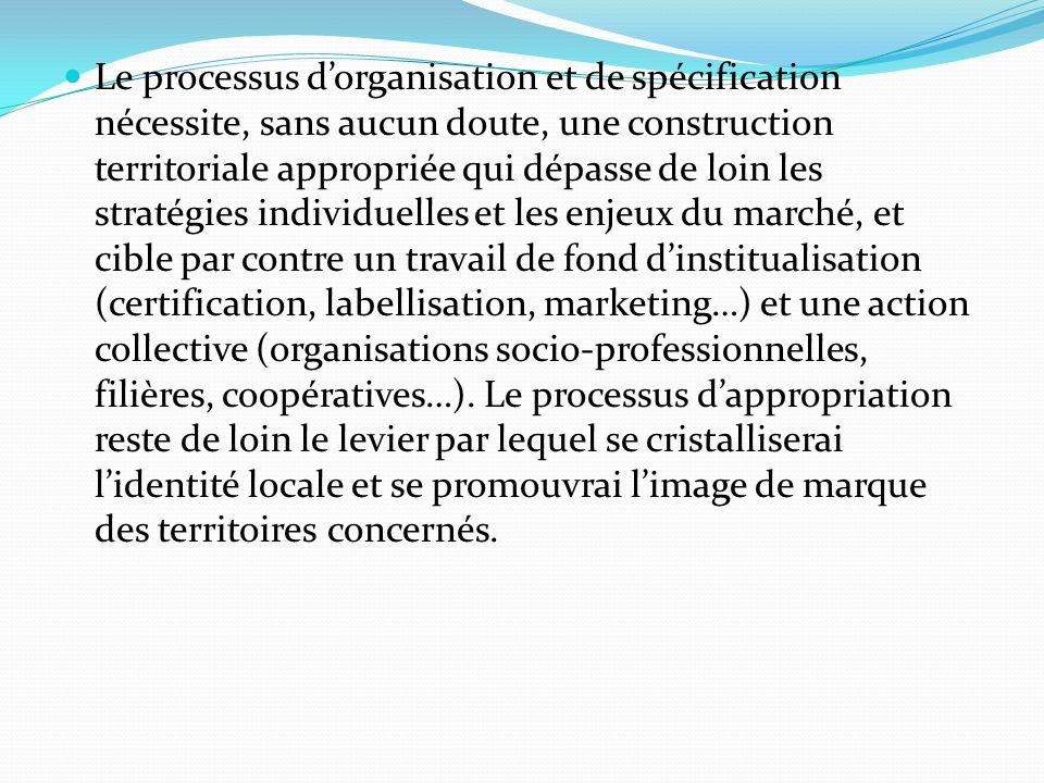 Le processus dorganisation et de spécification nécessite, sans aucun doute, une construction territoriale appropriée qui dépasse de loin les stratégie