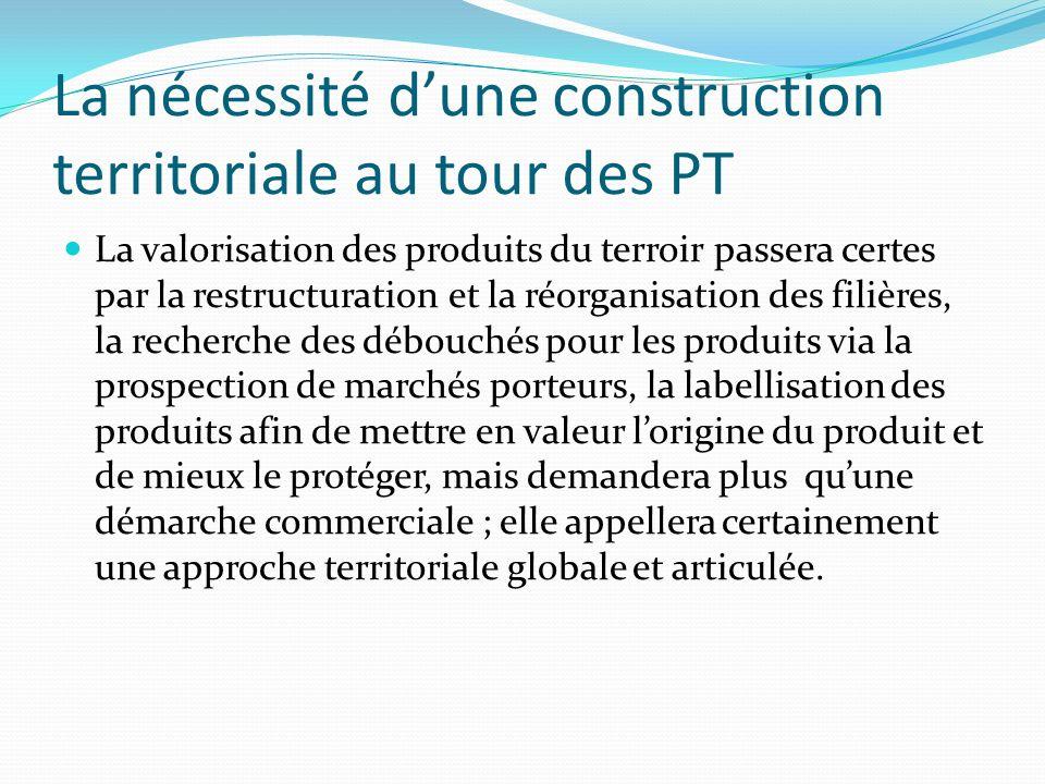 La nécessité dune construction territoriale au tour des PT La valorisation des produits du terroir passera certes par la restructuration et la réorgan