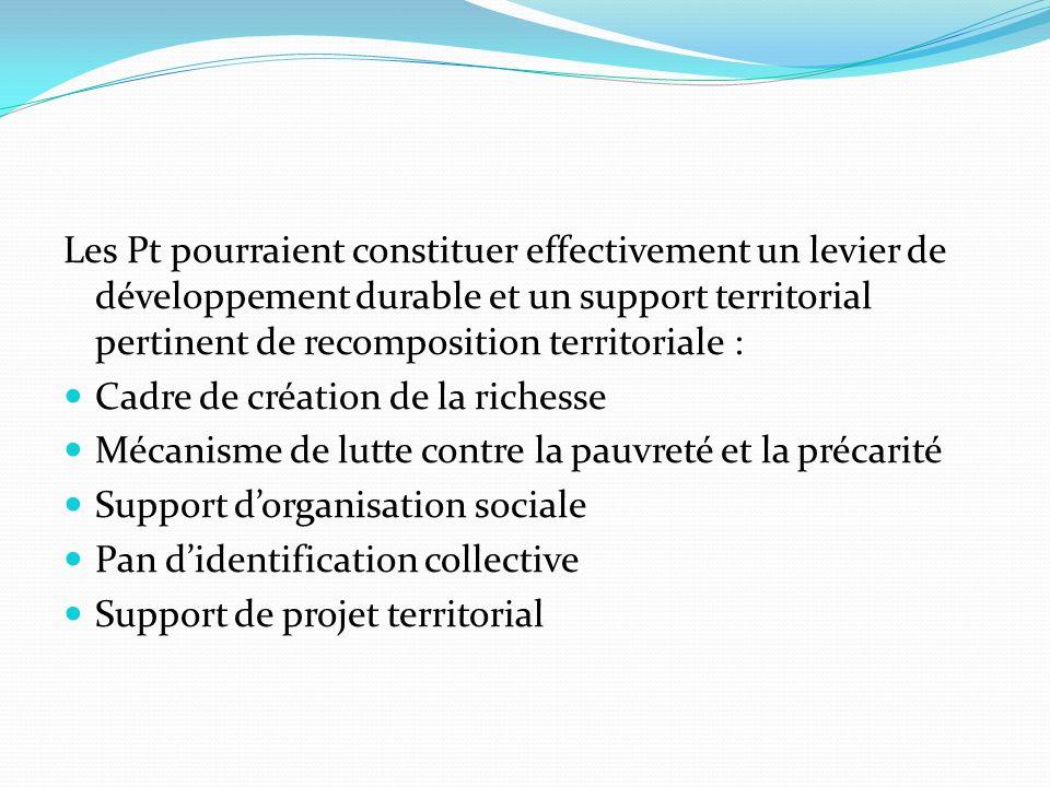Les Pt pourraient constituer effectivement un levier de développement durable et un support territorial pertinent de recomposition territoriale : Cadr