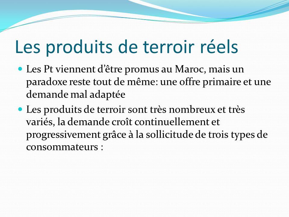 Les produits de terroir réels Les Pt viennent dêtre promus au Maroc, mais un paradoxe reste tout de même: une offre primaire et une demande mal adaptée Les produits de terroir sont très nombreux et très variés, la demande croît continuellement et progressivement grâce à la sollicitude de trois types de consommateurs :