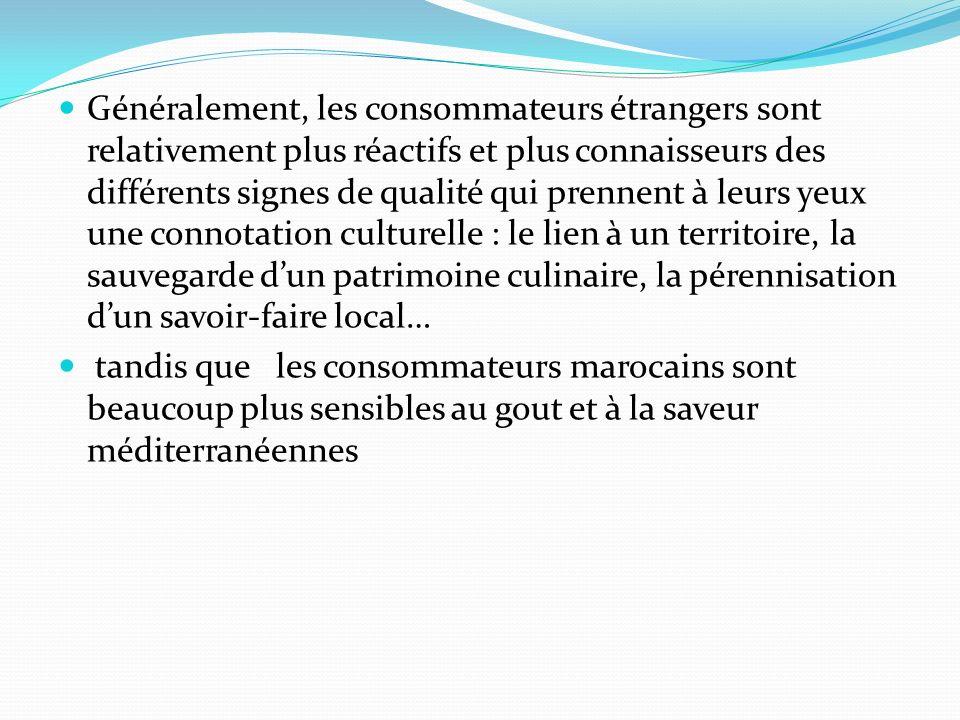 Généralement, les consommateurs étrangers sont relativement plus réactifs et plus connaisseurs des différents signes de qualité qui prennent à leurs yeux une connotation culturelle : le lien à un territoire, la sauvegarde dun patrimoine culinaire, la pérennisation dun savoir-faire local… tandis que les consommateurs marocains sont beaucoup plus sensibles au gout et à la saveur méditerranéennes