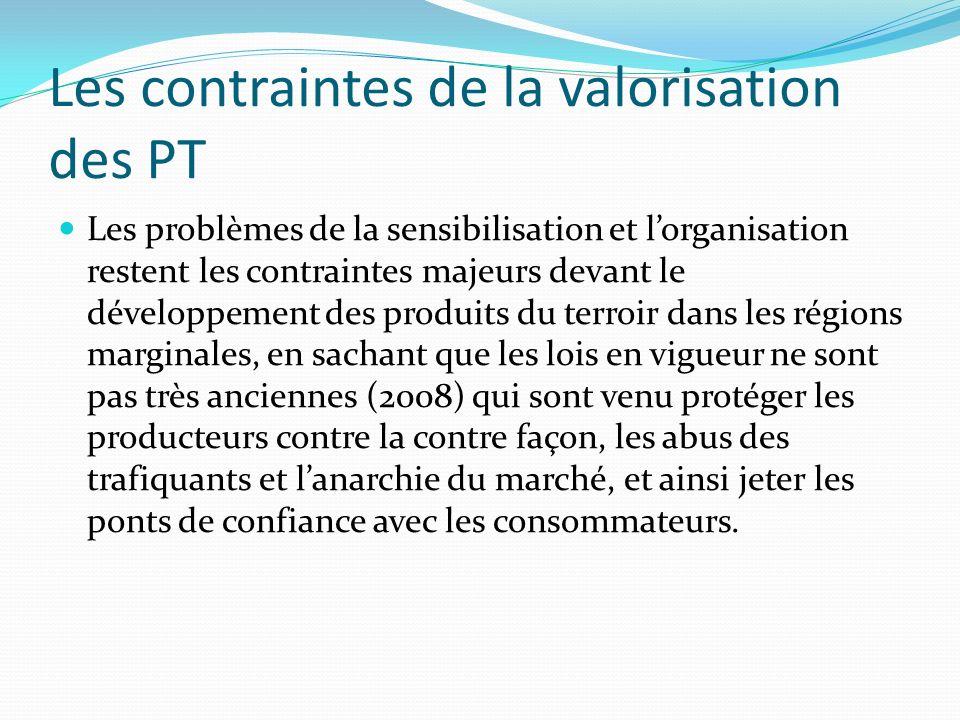 Les contraintes de la valorisation des PT Les problèmes de la sensibilisation et lorganisation restent les contraintes majeurs devant le développement
