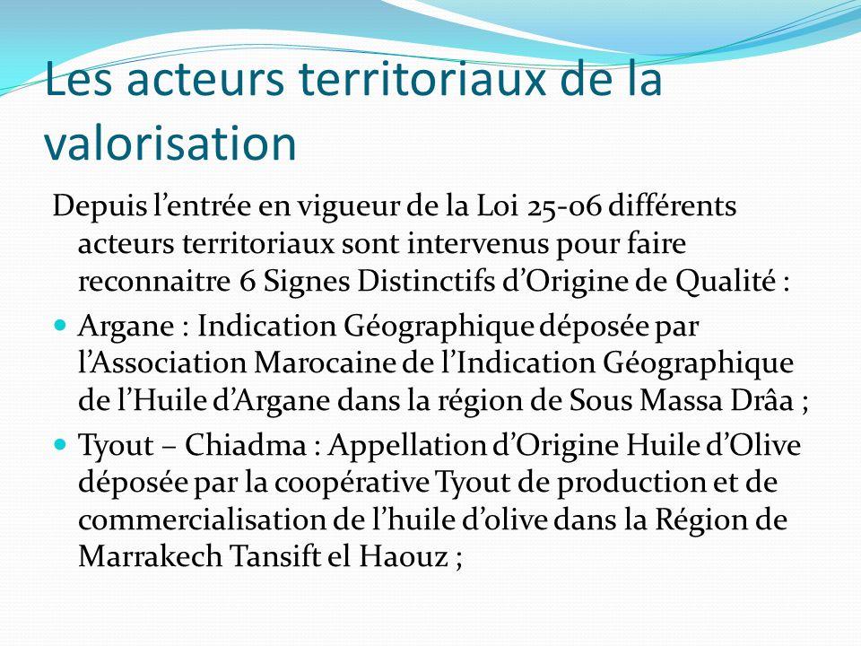 Les acteurs territoriaux de la valorisation Depuis lentrée en vigueur de la Loi 25-06 différents acteurs territoriaux sont intervenus pour faire reconnaitre 6 Signes Distinctifs dOrigine de Qualité : Argane : Indication Géographique déposée par lAssociation Marocaine de lIndication Géographique de lHuile dArgane dans la région de Sous Massa Drâa ; Tyout – Chiadma : Appellation dOrigine Huile dOlive déposée par la coopérative Tyout de production et de commercialisation de lhuile dolive dans la Région de Marrakech Tansift el Haouz ;