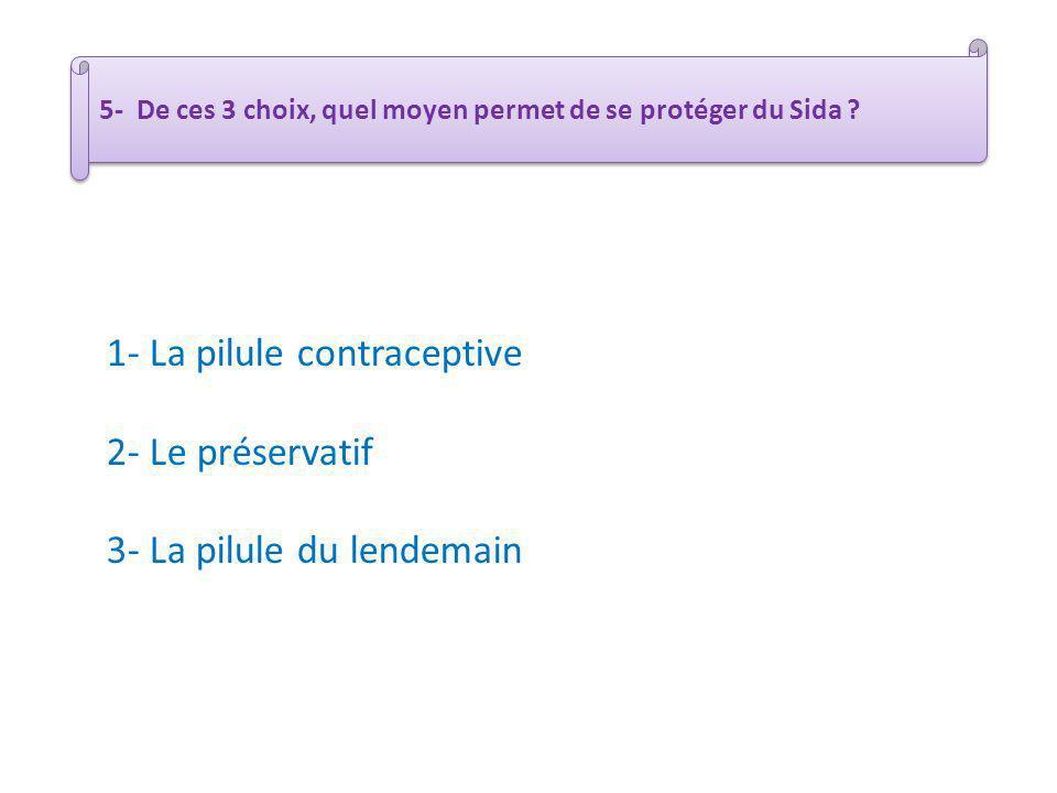 5- De ces 3 choix, quel moyen permet de se protéger du Sida ? 1- La pilule contraceptive 2- Le préservatif 3- La pilule du lendemain