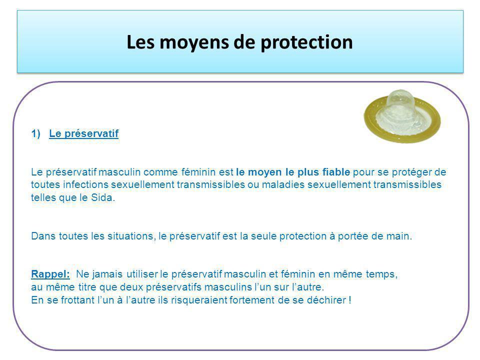 Les moyens de protection 1)Le préservatif Le préservatif masculin comme féminin est le moyen le plus fiable pour se protéger de toutes infections sexuellement transmissibles ou maladies sexuellement transmissibles telles que le Sida.