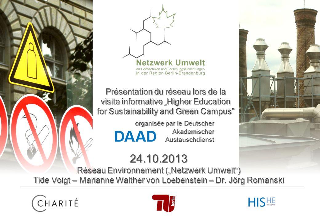 24.10.20131 Vorstellung des Netzwerks 24.10.2013 Réseau Environnement (Netzwerk Umwelt) Tide Voigt – Marianne Walther von Loebenstein – Dr.