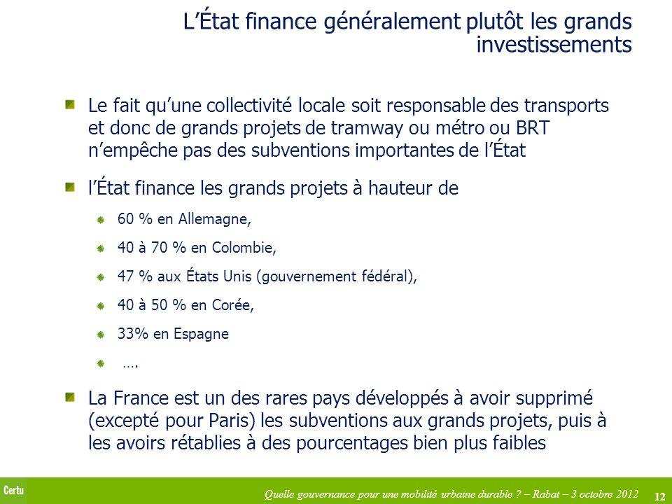 12 Quelle gouvernance pour une mobilité urbaine durable ? – Rabat – 3 octobre 2012 LÉtat finance généralement plutôt les grands investissements Le fai