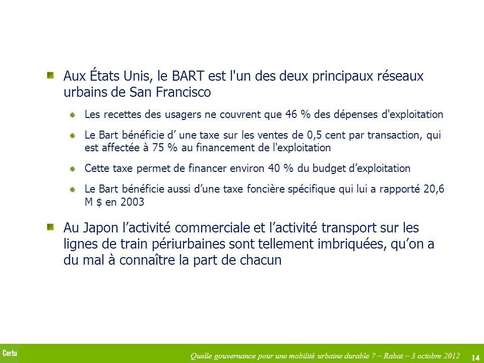 14 Quelle gouvernance pour une mobilité urbaine durable ? – Rabat – 3 octobre 2012 Aux États Unis, le BART est l'un des deux principaux réseaux urbain