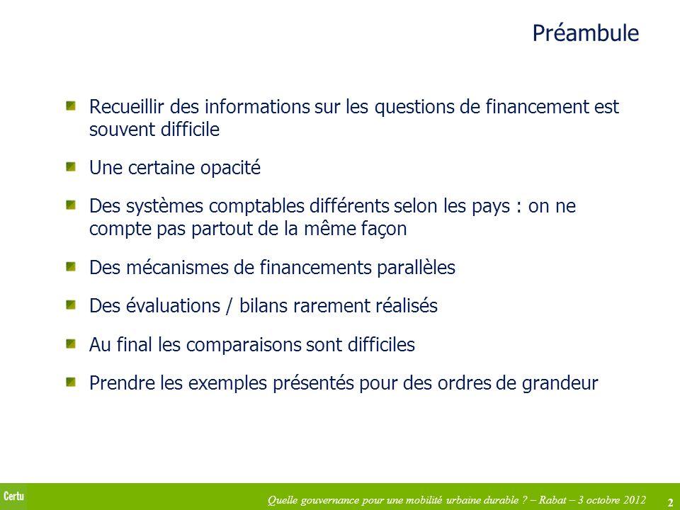 2 Quelle gouvernance pour une mobilité urbaine durable ? – Rabat – 3 octobre 2012 Préambule Recueillir des informations sur les questions de financeme