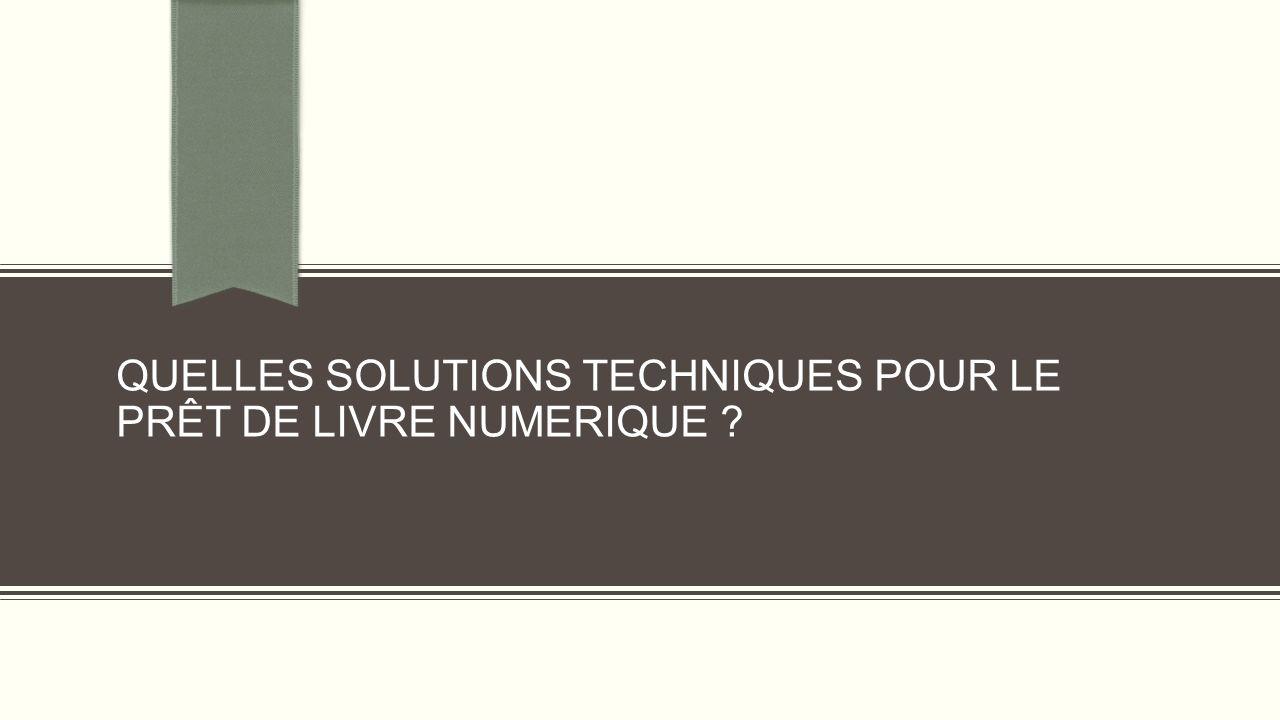 QUELLES SOLUTIONS TECHNIQUES POUR LE PRÊT DE LIVRE NUMERIQUE ?