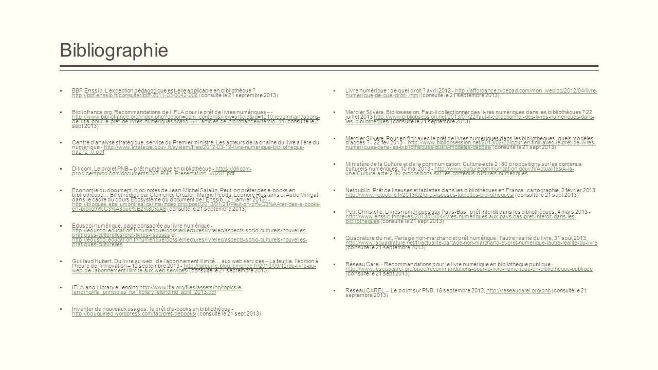 Bibliographie BBF Enssib, L'exception pédagogique est-elle applicable en bibliothèque ? http://bbf.enssib.fr/consulter/bbf-2011-03-0042-008 (consulté