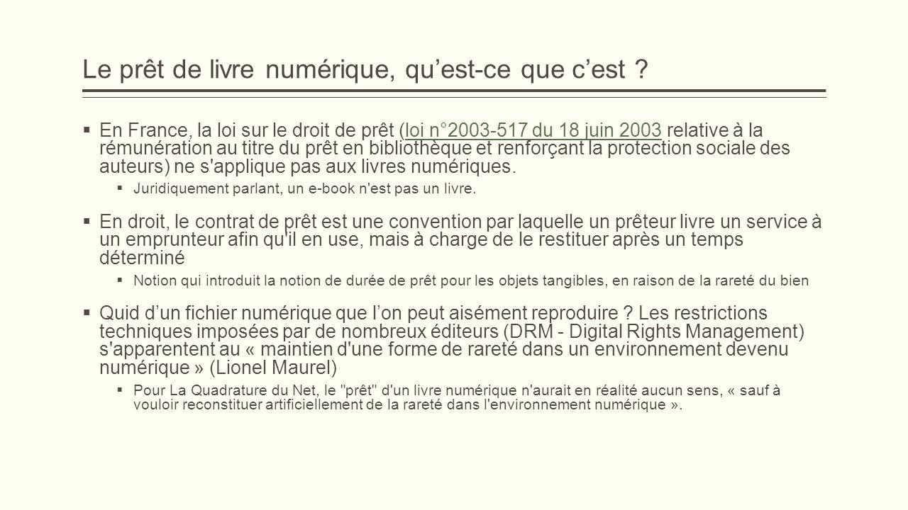Le prêt de livre numérique, quest-ce que cest ? En France, la loi sur le droit de prêt (loi n°2003-517 du 18 juin 2003 relative à la rémunération au t
