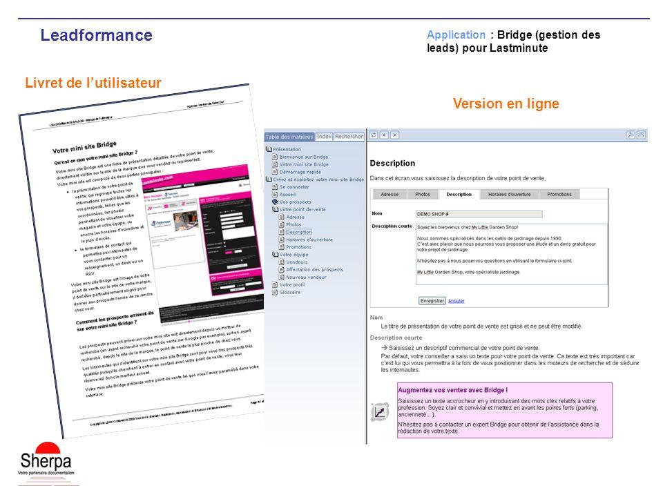 Leadformance Livret de lutilisateur Application : Bridge (gestion des leads) pour Lastminute Version en ligne