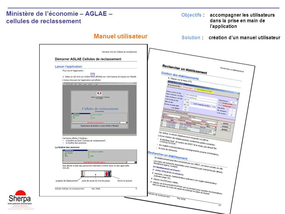 Ministère de léconomie – AGLAE – cellules de reclassement Manuel utilisateur Objectifs : accompagner les utilisateurs dans la prise en main de lapplication Solution : création dun manuel utilisateur