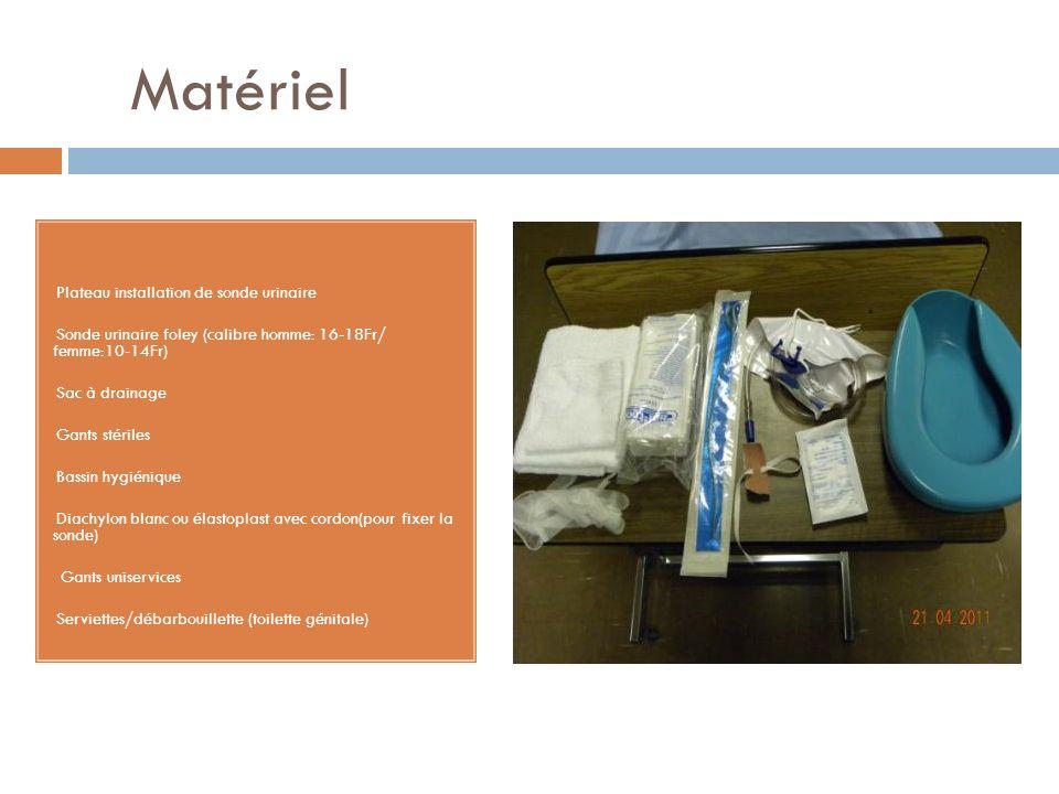 Matériel Plateau installation de sonde urinaire Sonde urinaire foley (calibre homme: 16-18Fr/ femme:10-14Fr) Sac à drainage Gants stériles Bassin hygi