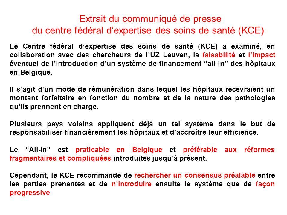 Le Centre fédéral dexpertise des soins de santé (KCE) a examiné, en collaboration avec des chercheurs de lUZ Leuven, la faisabilité et limpact éventue