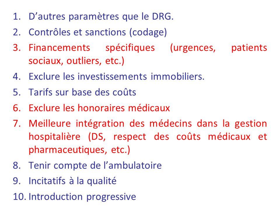 1.Dautres paramètres que le DRG. 2.Contrôles et sanctions (codage) 3.Financements spécifiques (urgences, patients sociaux, outliers, etc.) 4.Exclure l