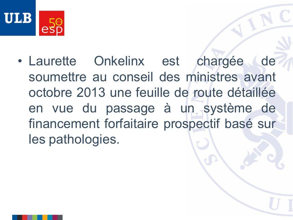 Laurette Onkelinx est chargée de soumettre au conseil des ministres avant octobre 2013 une feuille de route détaillée en vue du passage à un système de financement forfaitaire prospectif basé sur les pathologies.