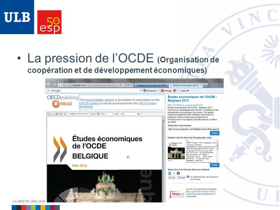 La pression de lOCDE (Organisation de coopération et de développement économiques) UNIVERSITÉ LIBRE DE BRUXELLES | ÉCOLE DE SANTÉ PUBLIQUE