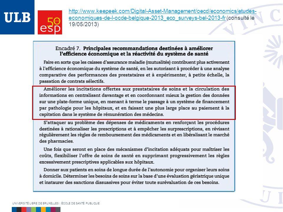 http://www.keepeek.com/Digital-Asset-Management/oecd/economics/etudes- economiques-de-l-ocde-belgique-2013_eco_surveys-bel-2013-frhttp://www.keepeek.com/Digital-Asset-Management/oecd/economics/etudes- economiques-de-l-ocde-belgique-2013_eco_surveys-bel-2013-fr (consulté le 19/05/2013) UNIVERSITÉ LIBRE DE BRUXELLES | ÉCOLE DE SANTÉ PUBLIQUE